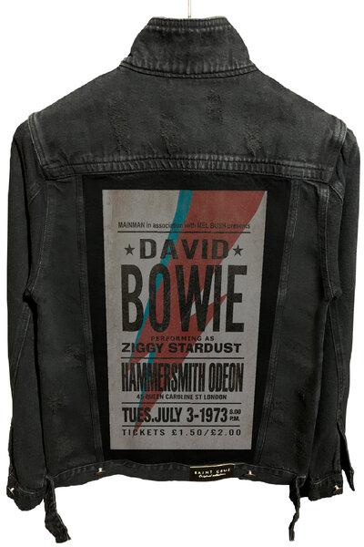 Jaqueta Jeans Rock Destroyed Preta Masculina David Bowie