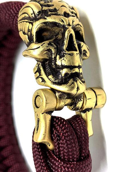 Pulseira paracord Vinho (Gold Skull)