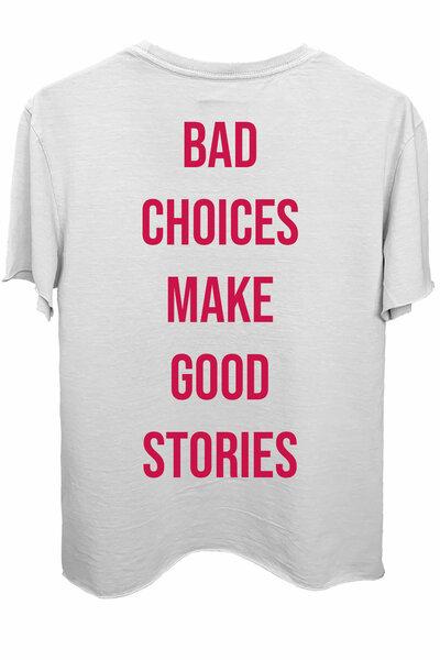 Camiseta branca Bad Choices Magenta
