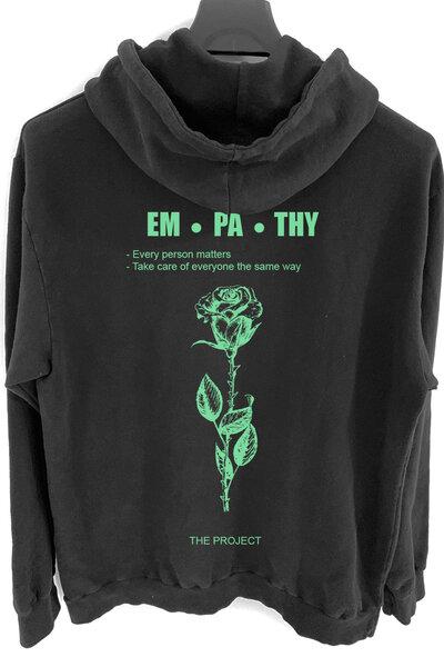 Blusa de moletom preto Empath (Estampa verde água)