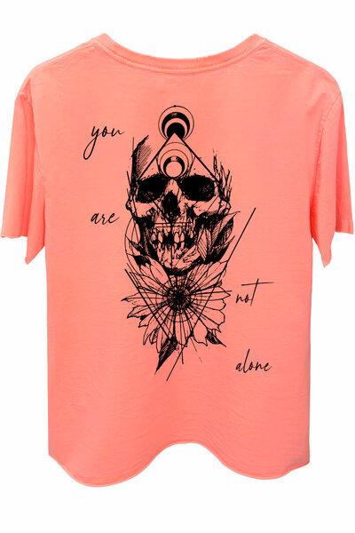 Camiseta estonada laranja Alone