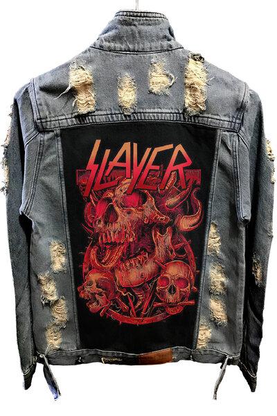 Jaqueta Jeans Destroyed Tradicional Slayer