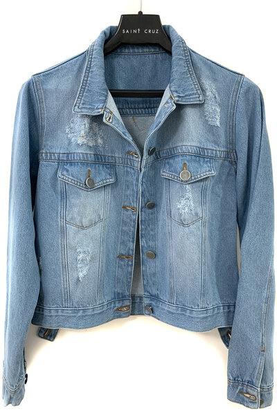 Jaqueta Jeans Destroyed Tradicional Feminina Personalizada