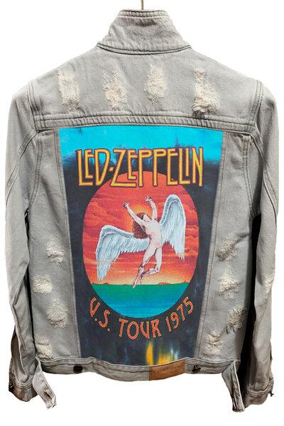 Jaqueta Jeans Rock Destroyed Cru Masc. Led Zeppelin Tour