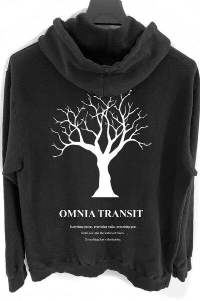 Blusa de moletom preto Omnia Transit (Estampa Branca)
