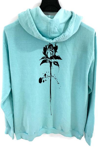 Blusa de moletom estonado azul Abstract Black Rose