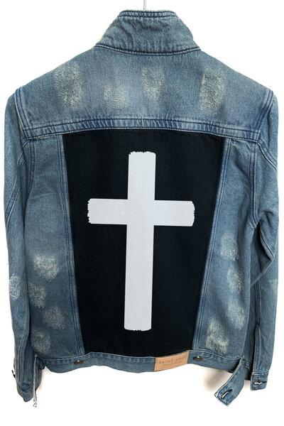 Jaqueta Jeans Destroyed Tradicional Masculina Crucifix