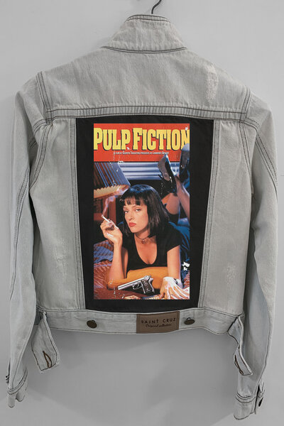 Jaqueta Jeans Destroyed Cru Feminina Pulp Fiction