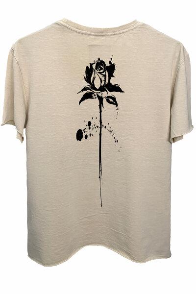 Camiseta estonada areia Abstract Black Rose