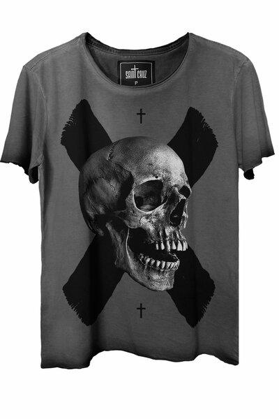 Camiseta estonada cinza X Skull