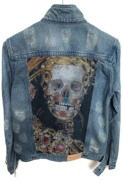 Jaqueta Jeans Destroyed Tradicional Masculina King Skull