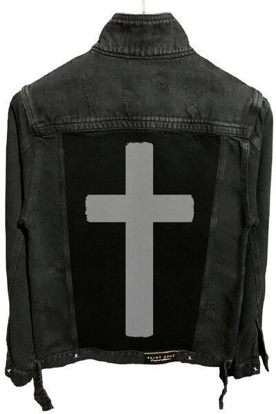 Jaqueta Jeans Destroyed Preta Masculina Crucifix