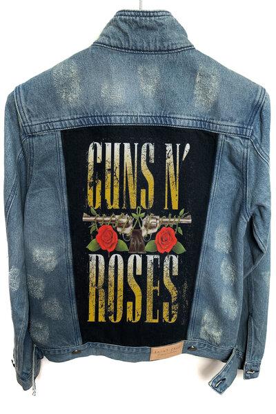 Jaqueta Jeans Rock Destroyed Tradicional Masculina Guns And Roses