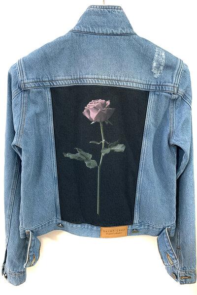 Jaqueta Jeans Destroyed Tradicional Feminina Rose