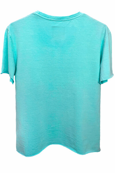 Camiseta estonada azul água Rose