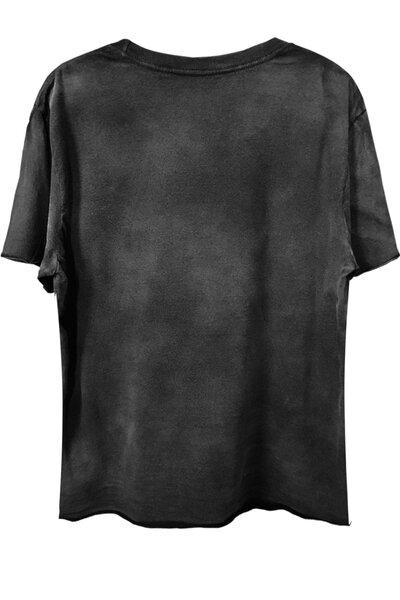 Camiseta com bolso preta Used Skull (front)