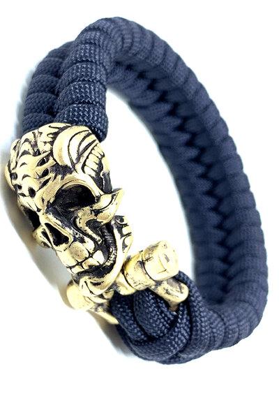 Pulseira paracord Azul Marinho (Gold Skull)