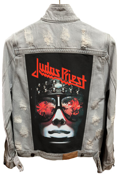 Jaqueta Jeans Destroyed Cru Masculina Judas Priest