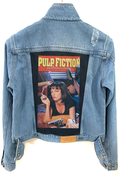 Jaqueta Jeans Destroyed Tradicional Feminina Pulp Fiction