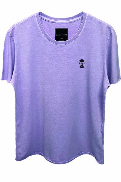 Camiseta estonada lilás Skull