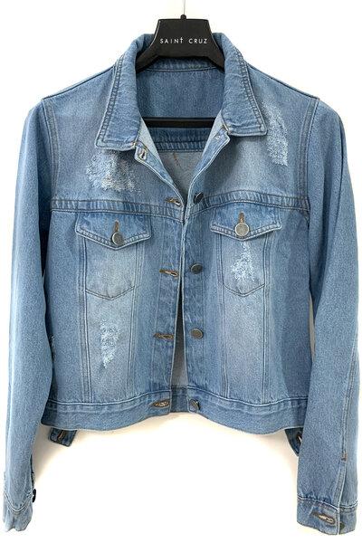 Jaqueta Jeans Destroyed Tradicional Feminina Basic