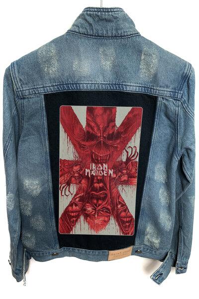 Jaqueta Jeans Rock Destroyed Tradicional Masculina Iron Maiden