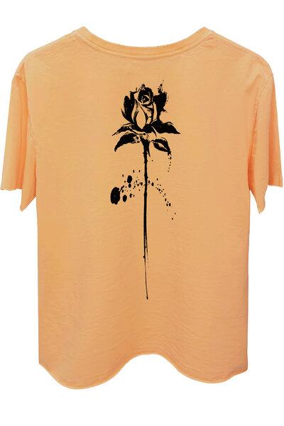 Camiseta estonada salmão Abstract Black Rose