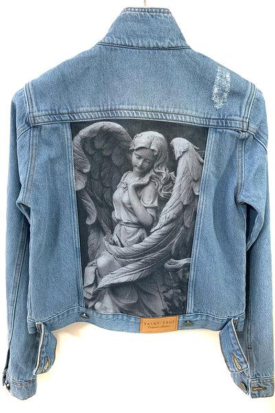Jaqueta Jeans Destroyed Tradicional Feminina Angel