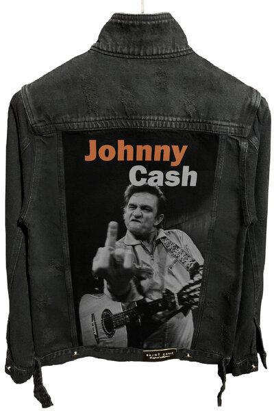 Jaqueta Jeans Destroyed Preta Masculina Johnny Cach