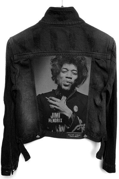 Jaqueta Jeans Destroyed Preta Feminina Jimi Hendrix