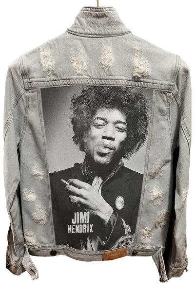 Jaqueta Jeans Rock Destroyed Cru Masculina Jimi Hendrix