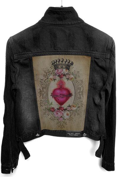 Jaqueta Jeans Destroyed Preta Feminina Heart
