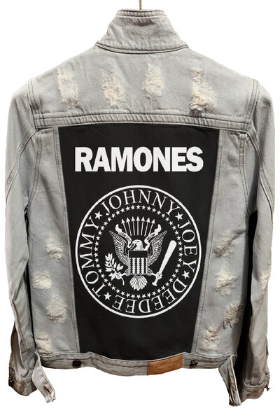 Jaqueta Jeans Destroyed Cru Masculina Ramones