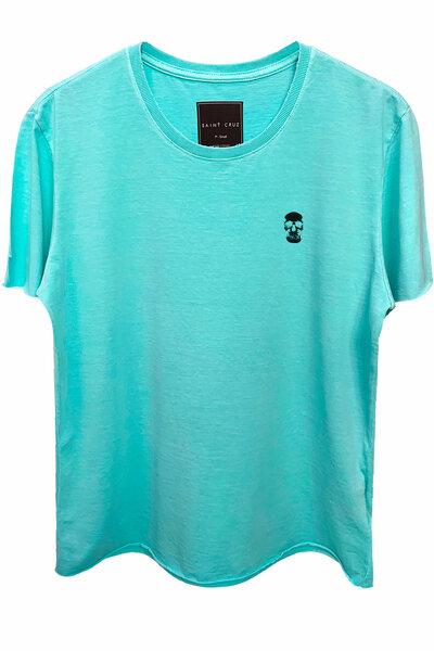Camiseta estonada azul água Skull