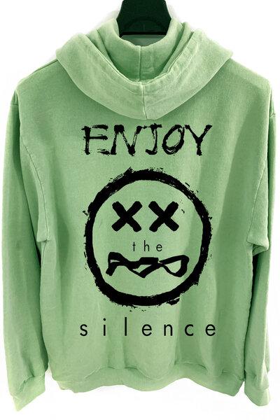 Blusa de moletom estonado verde Enjoy
