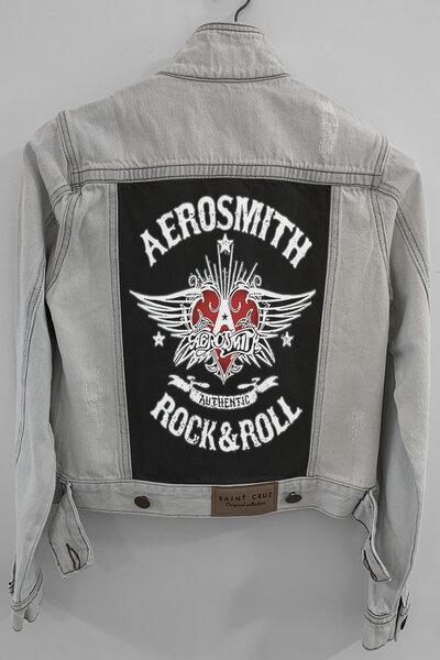 Jaqueta Jeans Rock Destroyed Cru Feminina Aerosmith