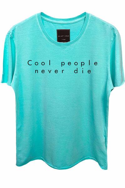 Camiseta estonada azul água Never Die