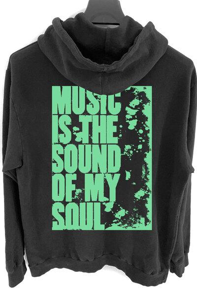 Blusa de moletom preto My Soul (Estampa verde água)