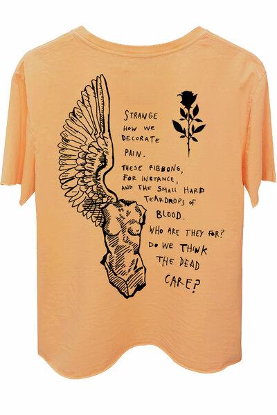 Camiseta estonada salmão Strange