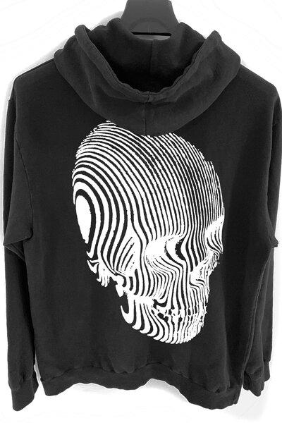 Blusa de moletom preto Stripes (Estampa Branca)