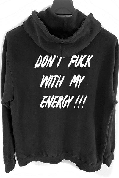 Blusa de moletom preto Energy (Estampa Branca)