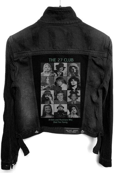 Jaqueta Jeans Destroyed Preta Feminina Club 27