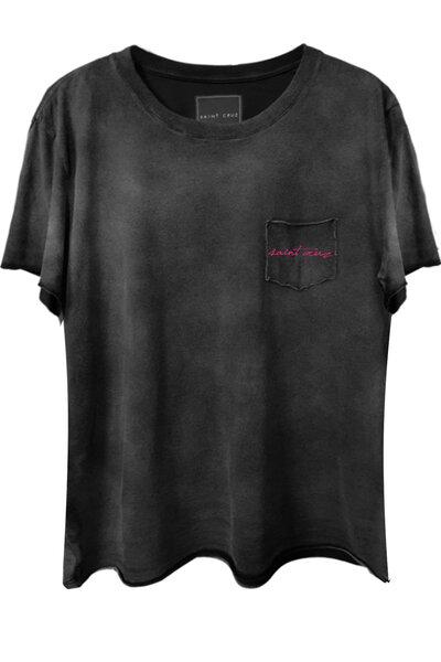 Camiseta com bolso preta Saint (Rosa)