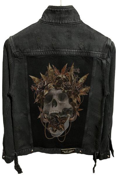 Jaqueta Jeans Destroyed Preta Gold Skull
