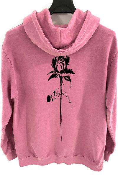 Blusa de moletom estonado vinho Abstract Black Rose