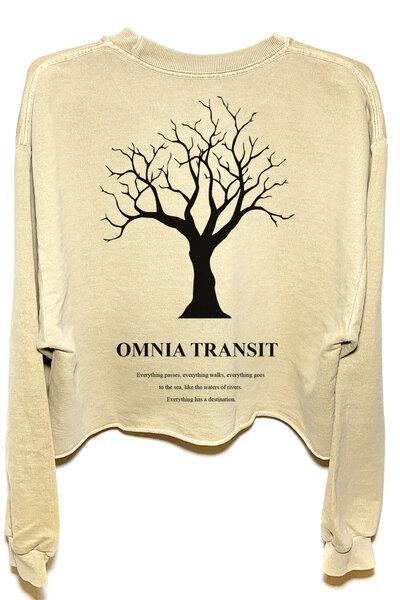 Cropped de moletom estonado areia Omnia Transit