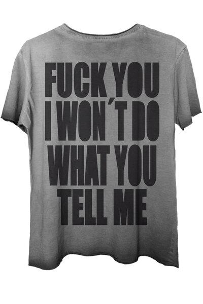 Camiseta estonada cinza Tell Me (Back)
