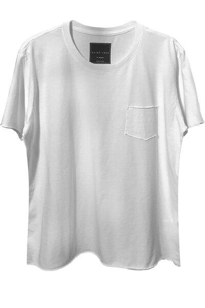 Camiseta com bolso branca Let's Rock (Back)