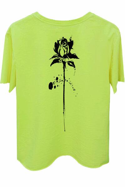 Camiseta estonada amarela Abstract Black Rose