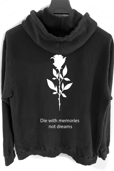 Blusa de moletom preto Memories (Estampa Branca)